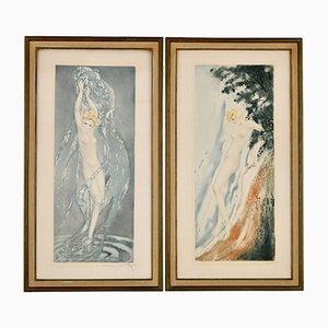 Grabados Art Déco de Nudes in the Waves de Louis Icart. Juego de 2