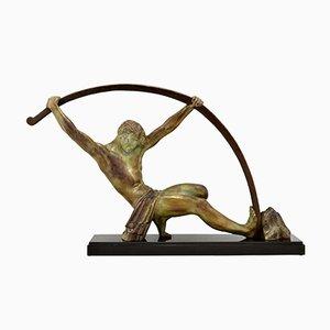 Art Deco Sculpture Bending Bar, Man the Age of Bronze, Demeire H. Chiparus