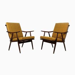 Hölzerne Boomerang Sessel mit doppelseitigen karierten Kissen von TON, 1970er, 2er Set