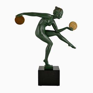 Art Deco Sculpture of Nude Disc Dancer Derenne by Marcel Bouraine for Max Le Verrier, 1930