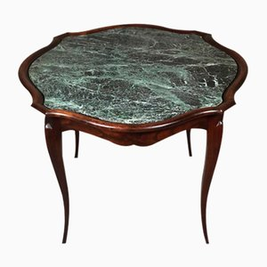 Mesa de centro estilo Luis XV de caoba y mármol