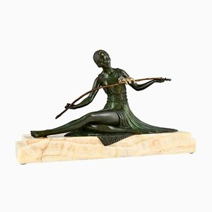 Art Deco Bronze Sculpture of Seated Lady with Birds by Joe Descomps, 1930