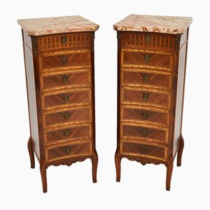 Slim Antique French Chests of Drawers with Marble Tops, Set of 2