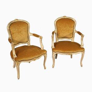 Lackierte und Vergoldete Armlehnstühle, 2er Set