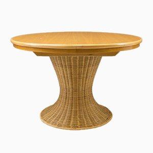 Mesa de comedor italiana de ratán y madera, años 60