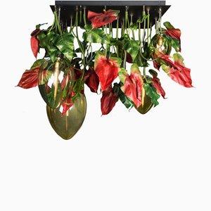 Lámpara de araña Flower Power en rojo con anturio y huevo de Vgnewtrend, Italy