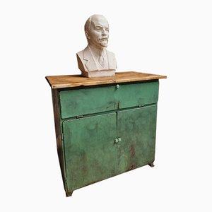 Mueble tocador vintage de hierro verde