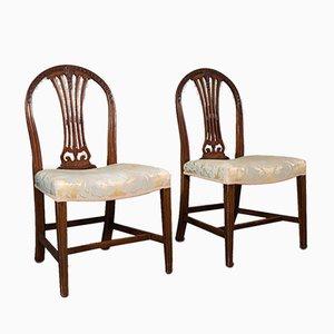 Sillas auxiliares Hepplewhite Revival antiguas, década de 1890. Juego de 2
