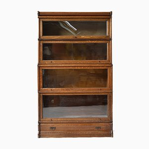 Antique Oak and Glass Stacking Library Barrister Modular Bookcase, Set of 4