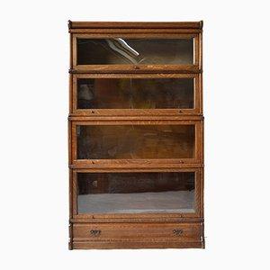 Librería modular antigua de roble y vidrio. Juego de 4