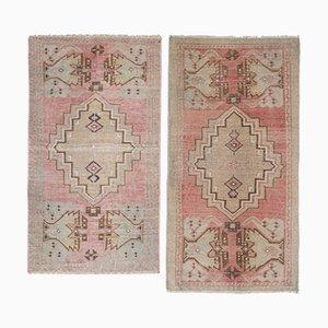 Kleine türkische Oushak Miniatur Teppiche, 2er Set