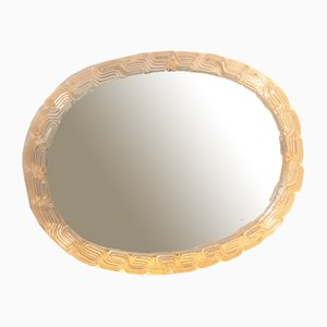 Ovaler Spiegel mit Beleuchtung und Rand aus Plexiglas, 1960er