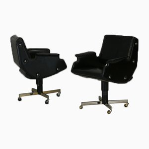 Swivel Armchairs in Leatherette & Steel, Italy, 1960s, Set of 2