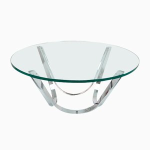 Glass and Chrome Coffee Table by Roger Spunger for Dunbar, 1950s