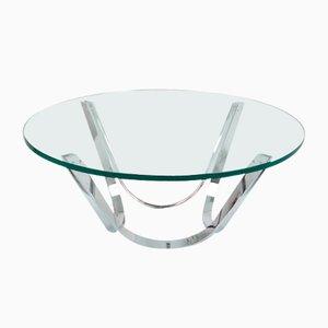 Mesa de centro de vidrio y cromo de Roger Spunger para Dunbar, años 50