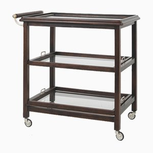 Art Deco Rolling Trolley with Removable Glass Trays