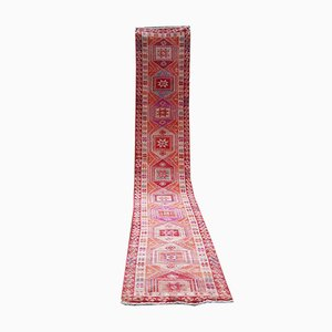 Long Gallery Turkish Runner with Geometric Tribal Medallions