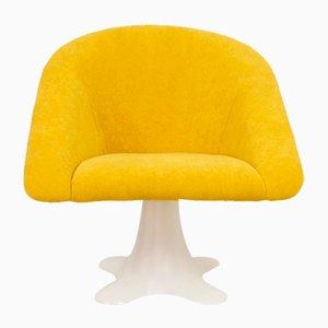Silla era espacial con tapicería amarilla, años 70