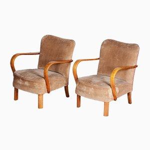 Art Deco Beech Armchairs, 1930s, Set of 2
