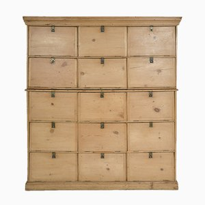 Large Pine Antique Bank of Solicitors Cupboard
