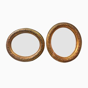Italian 19th Century Gilded Oval Mirrors with Gold Leaf, 1900s, Set of 2