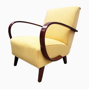 Bentwood Armchair in Yellow Velvet by Jindřich Halabala, 1930s