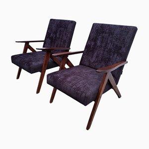 Silla modelo B 310 Var de madera de roble y terciopelo negro, años 60