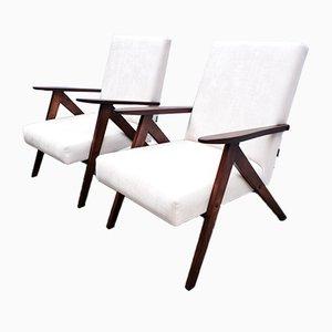 Modell B 310 Var Stuhl aus elfenbeinfarbenem Samt, 1960er