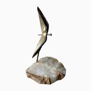 Escultura de metal y piedra al estilo de Curtis Jere, años 70