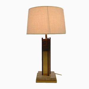 Lámpara de mesa chapada en oro de 24 quilates y travertino, años 70