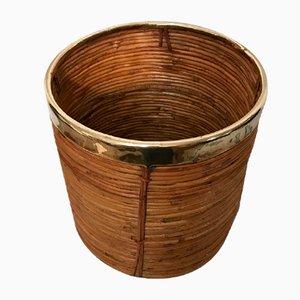 Maceta de bambú y latón de Gabriella Crespi, años 70