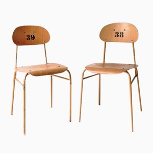 Vintage School Chairs, 1970, Set of 2