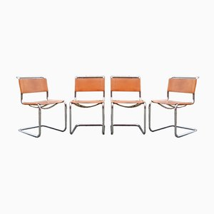 Vintage Cognac Vegetal S33 Chairs by Mart Stam for Thonet, Set of 4