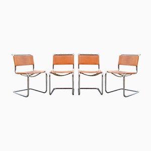 Vintage Cognacfarbene Vintage S33 Stühle von Mart Stam für Thonet, 4er Set