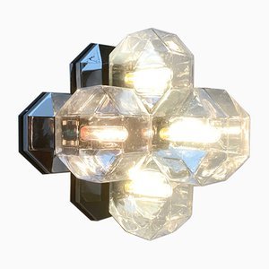 Vintage German Space Age Chrome & Glass Wall or Ceiling Lamp by Motoko Ishii for Staff
