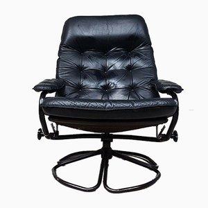 Mid-Century Danish Leather Swivel Chair
