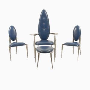 Dutch Brushed Steel & Blue Leather Living Room Set from Daal, 1980s