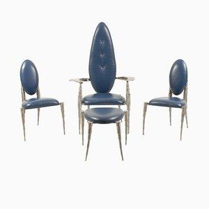 Niederländisches Wohnzimmerset aus Gebürstetem Stahl & Blauem Leder von Daal, 1970er