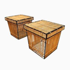 Vintage Dutch Rattan & Steel Storage Basket by Dirk Van Seliregt for Rohé Noordwolde, Set of 2