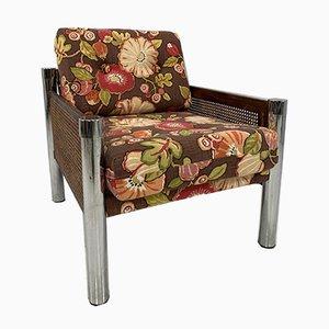 Amerikanischer Rattan und Chrom Sessel
