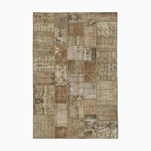 Brauner Patchwork Teppich