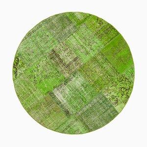 Alfombra redonda verde de patchwork