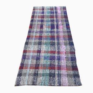 Alfombra de pasillo Kilim turca vintage de tejido plano