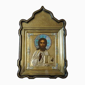 La imagen antigua del Señor Todopoderoso en un marco de plata y una caja original con íconos, Moscú, finales del siglo XIX
