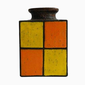 Jarrón alemán vintage de cerámica esmaltada en naranja y amarillo