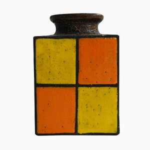 Vintage German Orange & Yellow Glazed Ceramic Vase
