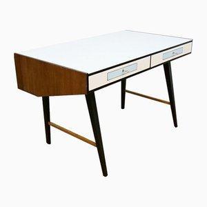 Moderner freistehender Schreibtisch mit Glasplatte, 1960er