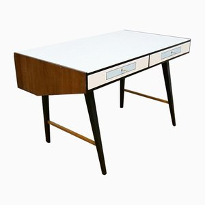 Modernist Free-Standing Desk with a Glass Top, 1960s