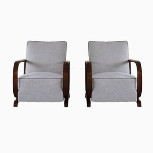 Danish Art Deco Lounge Chairs with Curved Armrests in Walnut, 1930s, Set of 2