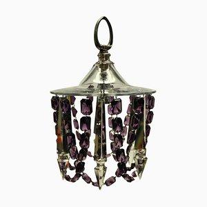 Lámparas de techo pequeñas de vidrio tallado con vidrio amatista. Juego de 2
